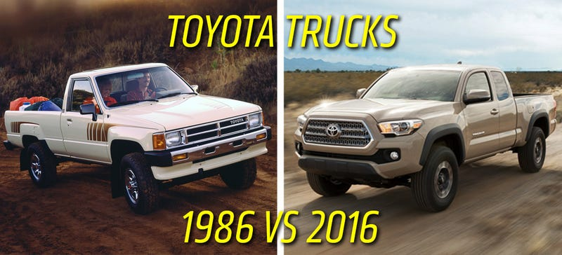 Illustration for article titled The 1986 Toyota Truck And 2016 Toyota Tacoma Compared Spec For Spec