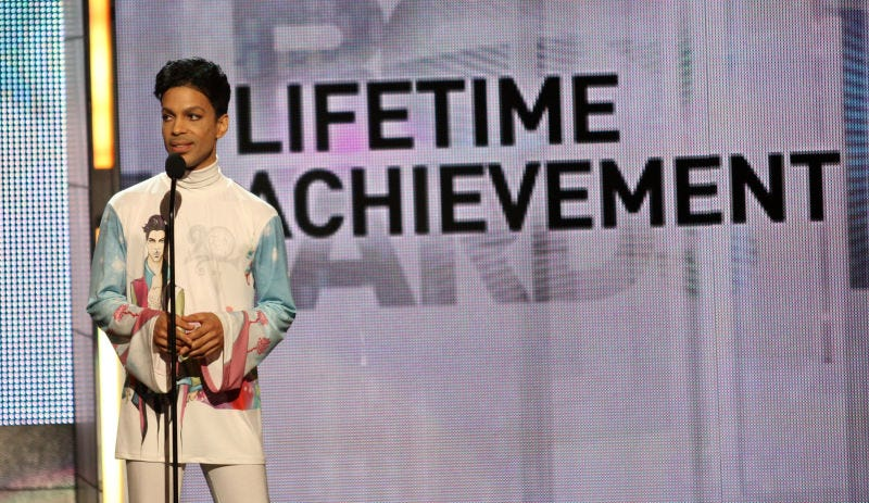 Prince accepts the Lifetime Achievement Award during the 2010 BET Awards on June 27, 2010, in Los Angeles. (Frederick M. Brown/Getty Images)