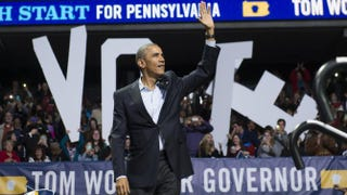 President Barack Obama arrives to speak at a campaign rally for Tom Wolf, Democratic candidate for Pennsylvania governor, at the Liacouras Center at Temple University in Philadelphia Nov. 2, 2014.Saul Loeb/Getty Images