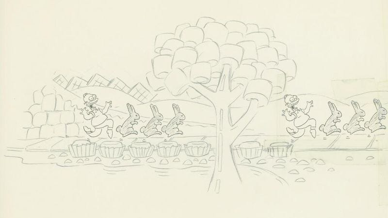 Illustration for article titled Check out these old sketches from The Simpsons by animator David Silverman