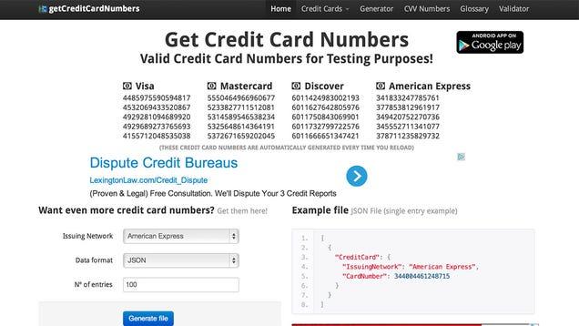 Getcreditcardnumbers Generates -6234