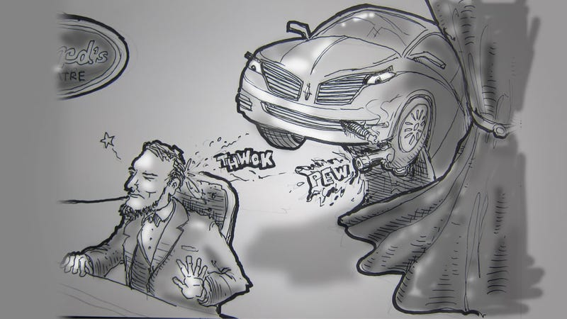 Illustration for article titled Livesketching the Detroit Auto Show: How Lincoln Really Died