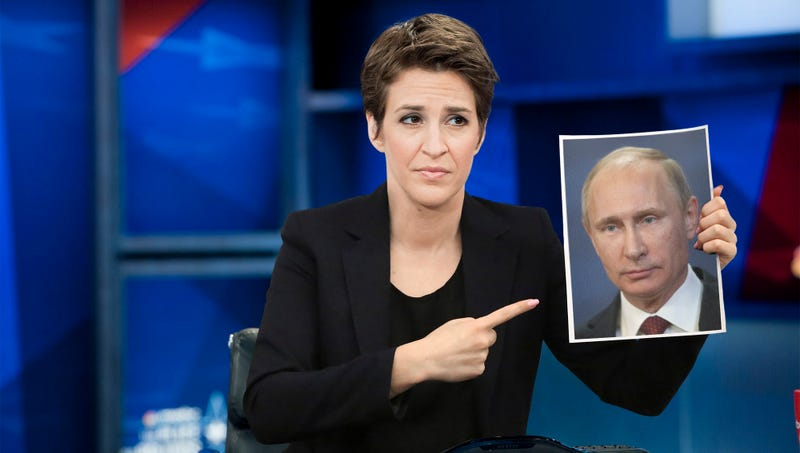 Illustration for article titled Fuming Rachel Maddow Spends Entire Show Just Pointing Wildly At Picture Of Putin