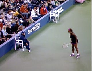 Illustration for article titled Serena Williams Goes All Crazy-Lady On Terrified Line Judge