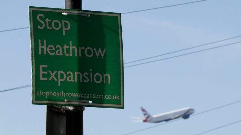 A protest sign in the town of Harmondsworth, which would be partially destroyed by an expansion of Heathrow Airport.