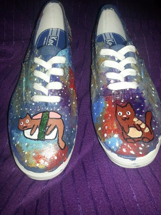 Illustration for article titled Space Cat shoes are done!