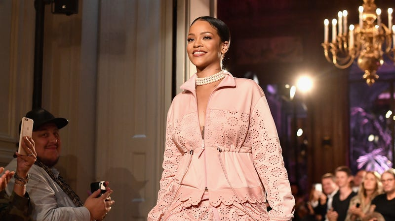 Rihanna walks the runway during FENTY x PUMA by Rihanna at Hotel Salomon de Rothschild on September 28, 2016 in Paris, France.