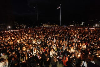 Penn State students at vigil for victims of child abuse (Getty Images)