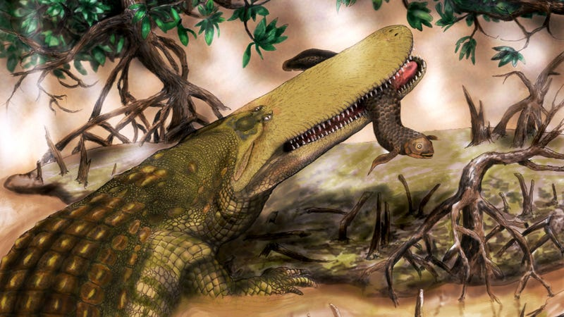 Illustration for article titled Africa's oldest crocodile was over 30 feet long and wore thick head armor