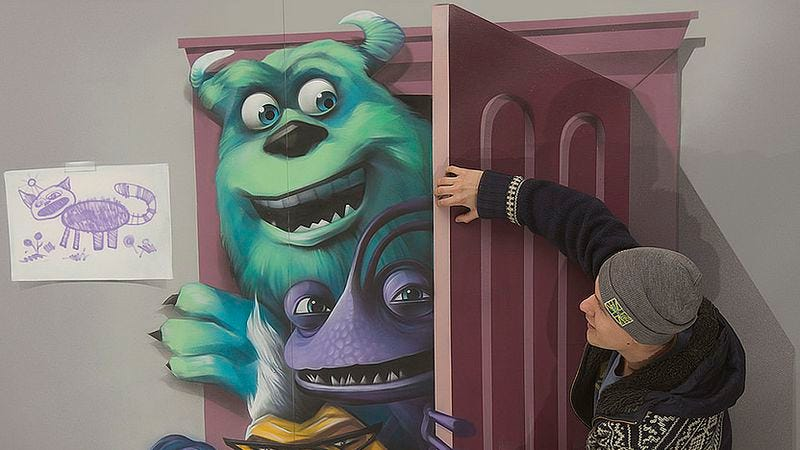 Illustration for article titled Clever 3-D art exhibit brings the cast of Monsters, Inc. to life