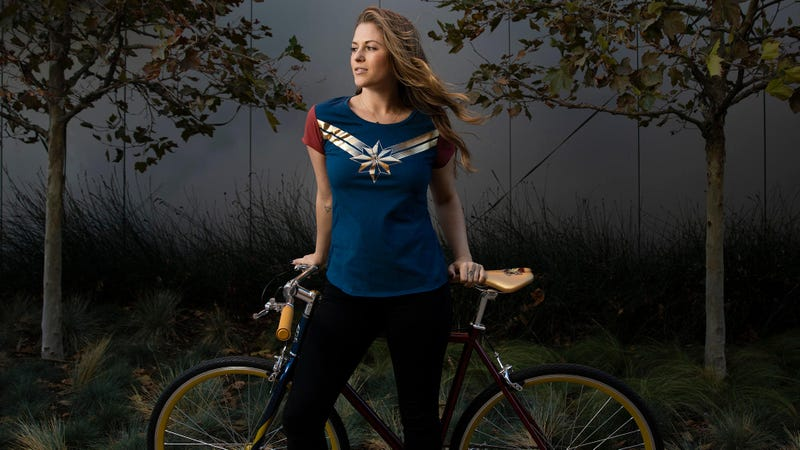 This Disney Store Captain Marvel shirt is just one of the cool new pieces of merch announced...wait, is that a Captain Marvel BICYCLE?