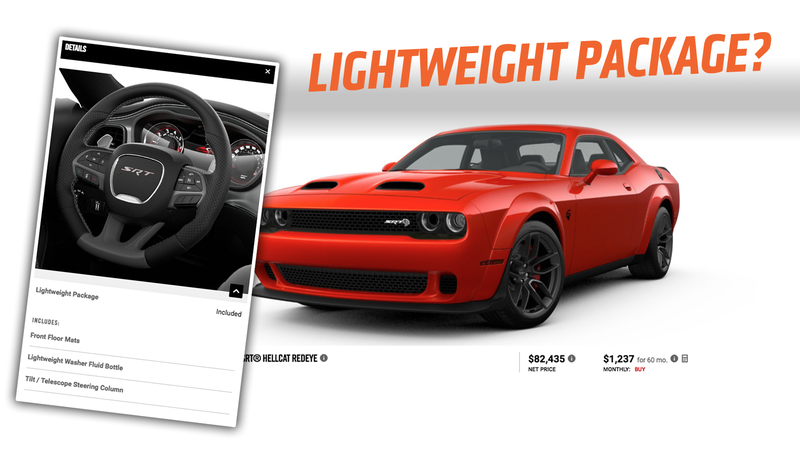 Illustration for article titled I'm Pretty Sure the 2019 Dodge Challenger SRT Hellcat RedEye 'Lightweight Package' Makes the Car Heavier