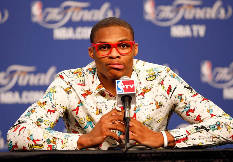 Illustration for article titled Announcer Claims Russell Westbrook Is 'Out of His Cotton-Picking Mind'