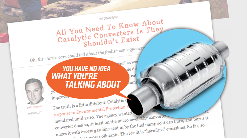 Illustration for article titled Here's Some Hilarious Bullshit About Catalytic Converters