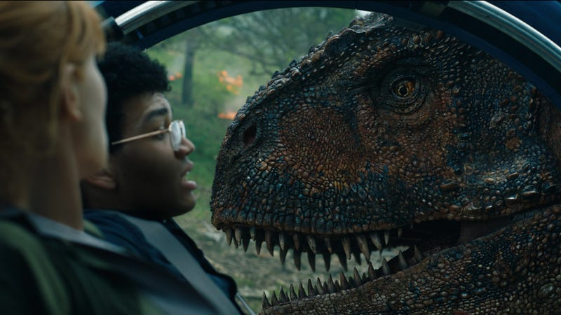 """Hey, I called shotgun!"" Bryce Dallas Howard and Justice Smith in Jurassic World: Fallen Kingdom."