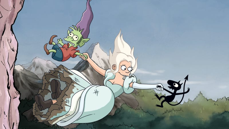 Elfo, Bean, and Luci falling off a cliff