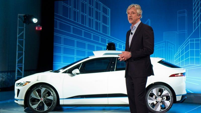 Waymo CEO John Krafcik with the new autonomous Jaguar Land Rover I-Pace