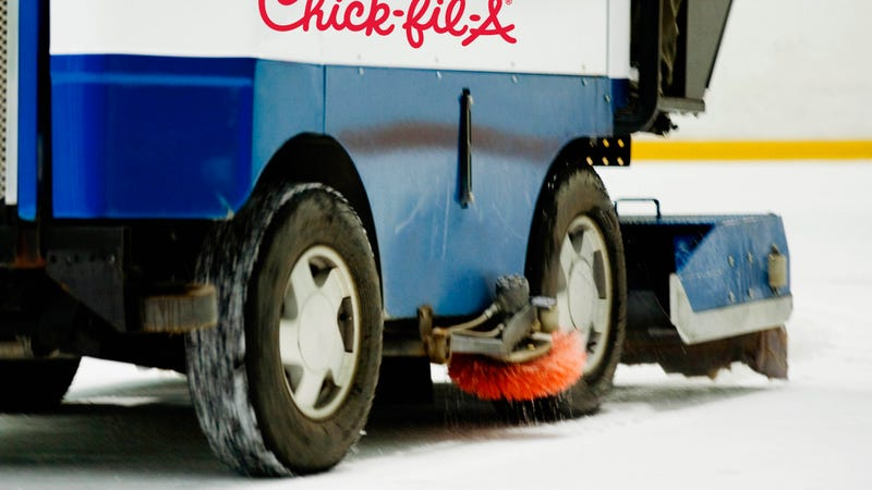 Illustration for article titled Chick-fil-A zamboni commandeered by protesters during hockey game