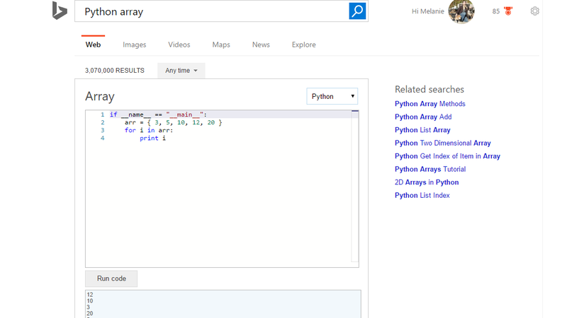 Illustration for article titled Bing Can Now Show You Code Snippets and Run Code in Search Results