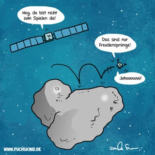 Illustration for article titled On the 6th day of CAHmas, the Card Czar gave to me: Philae bouncing Germanly