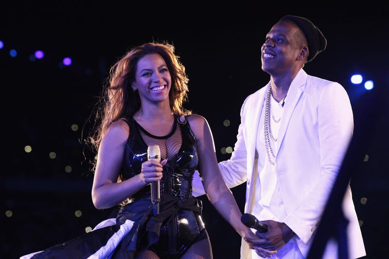 Beyoncé and JAY-Z on stage at the Stade de France in Paris
