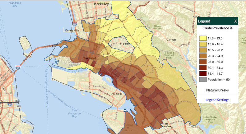 A screenshot of Oakland's physical activity, by census tract. Image: CDC