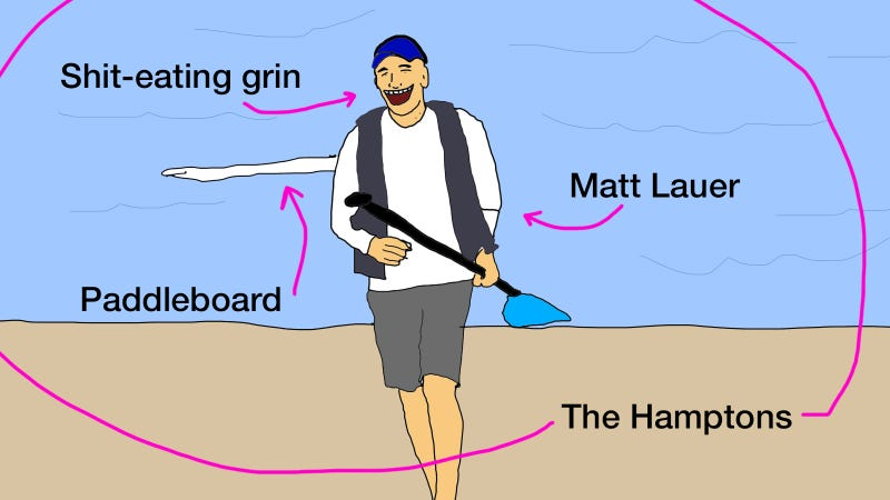 Illustration for article titled Matt Lauer Appears to Be Having a Fantastic Summer in the Hamptons, How About You?