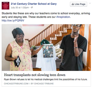 "Ryan Brown's school posted an earlier story about the teen and called Brown an ""inspiration.""21st Century Charter School at Gary via Facebook"