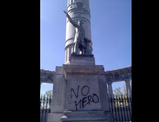 "In 2011, vandals wrote ""No Hero"" on a statue of Confederate President Jefferson Davis on Monument Mile in Richmond, Va., where Davis is but one Confederate figure still lionized on public streets. Doug Callahan/rvanews.com"