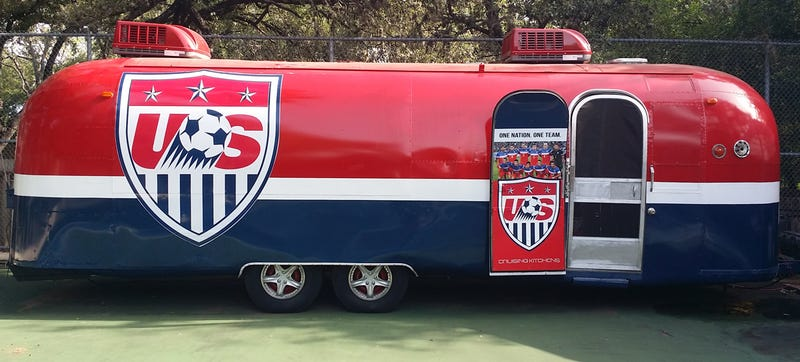 Illustration for article titled This Custom Airstream Is The Ultimate World Cup Tailgating Rig