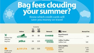 Illustration for article titled Compare Airline Baggage Fees and Airline Credit Card Rewards in One Handy Infograph