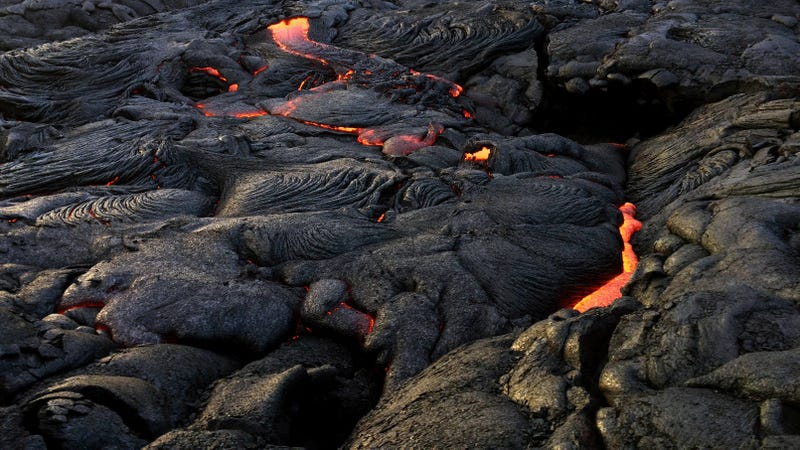 Lava moving toward the ocean from the recent eruption at Kilauea.