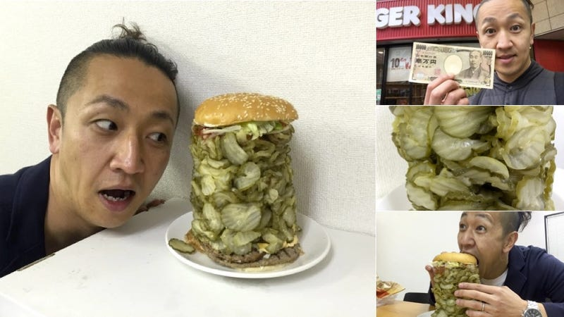 Illustration for article titled A Whopper with 700 Pickle Slices Doesn't Look Appetizing