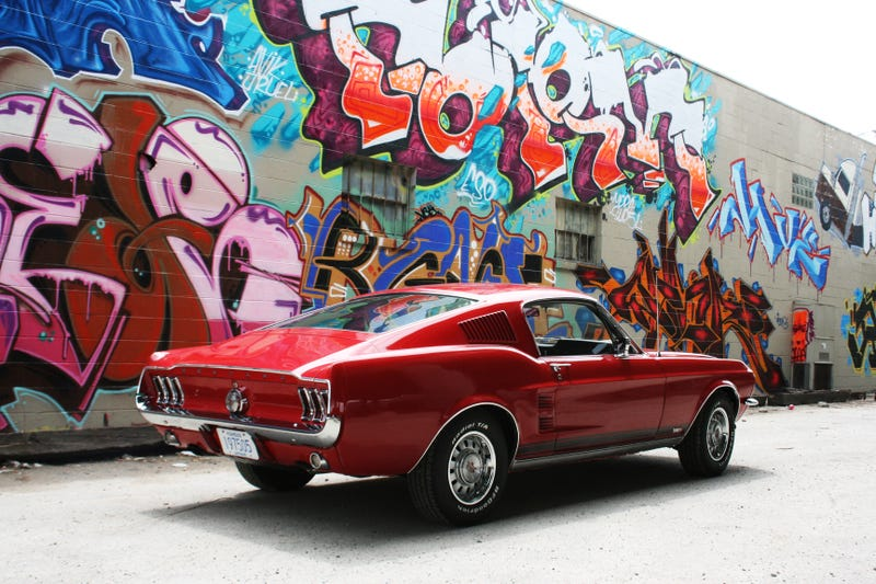 Sometimes Graffiti Is Illegal. Sometimes Graffiti Makes A Really Good  Backdrop For Your 1967 Ford Mustang Fastback.