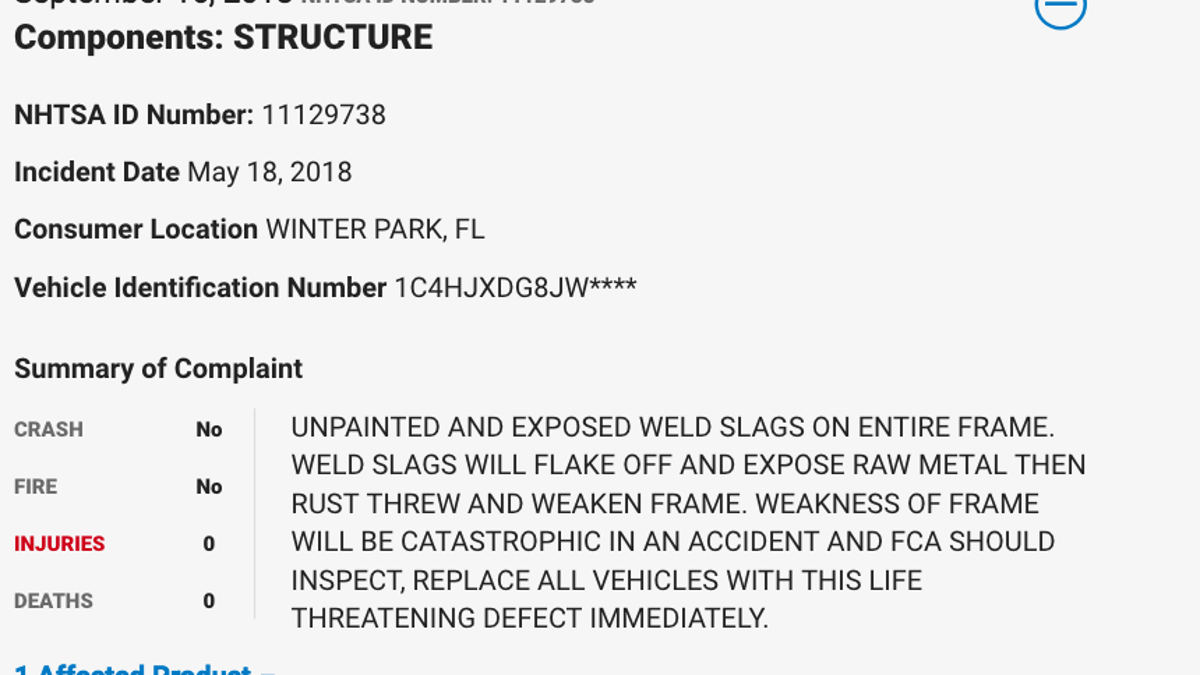 2018-2019 Jeep Wranglers Face Recall Over Frame Welds Failing