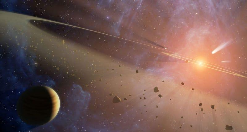 Impresión mostrando dos cinturones de asteroides y un planeta orbitando Epsilon Eridani. Wikimedia Commons