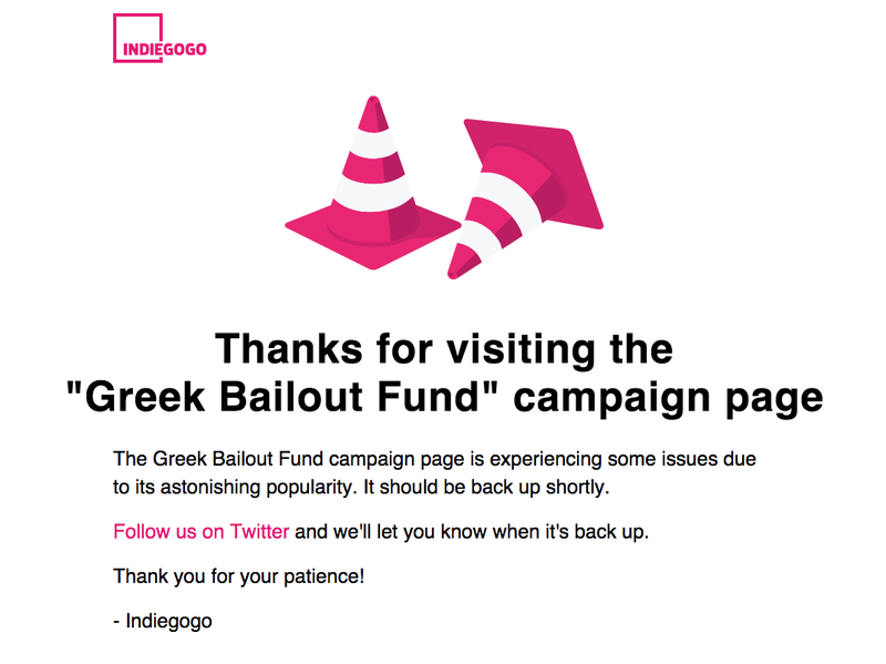 Illustration for article titled The Campaign to Crowdfund Greece's Bailout Has Crashed Indiegogo