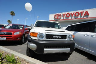 Toyota cars, SUVs and trucks on display at a Toyota dealership in Torrance, Calif., on March 12, 2010.ROBYN BECK/AFP/Getty Images