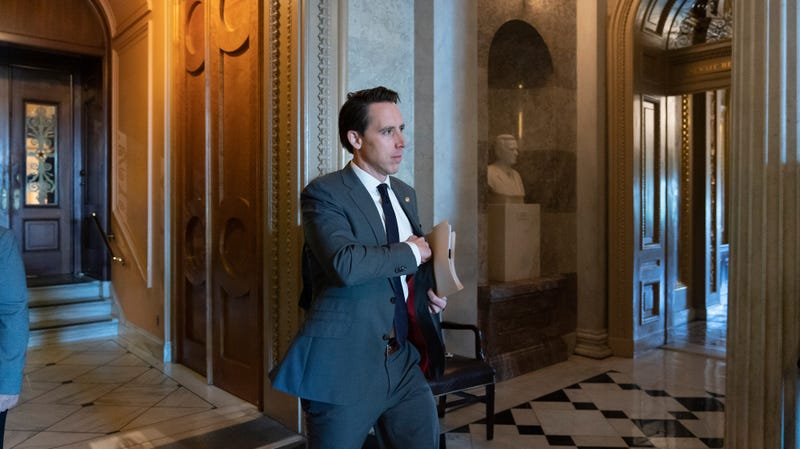 Sen. Josh Hawley, R-Mo., leaves the Senate floor after presiding over the longest roll call in history, an amendment to require approval from Congress before President Donald Trump could order military strikes against Iran, at the Capitol in Washington, Friday, June 28, 2019.