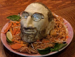 Illustration for article titled DIY Steve Jobs Cheese Head Gets Real Creepy