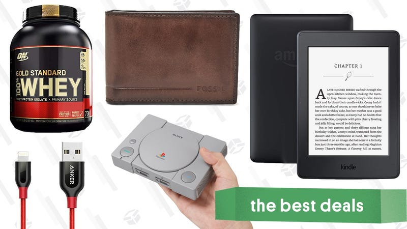 Illustration for article titled Wednesday's Best Deals: PlayStation Classic, $19 Fossil Wallets, Protein Powder, and More