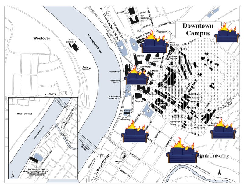 Downtown Campus Map Wvu.A Handy Map Of Where To Burn Your Couches When Wvu Beats Loses To Lsu