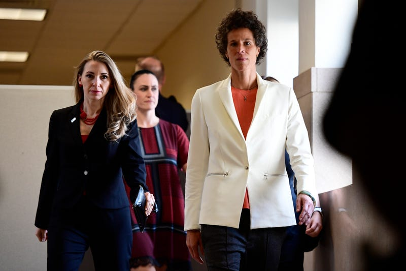 Andrea Constand (right), who says Bill Cosby sexually assaulted her in 2004, arrives at the Montgomery County Courthouse in Norristown, Pa., for the fifth day of Cosby's sexual assault retrial April 13, 2018.