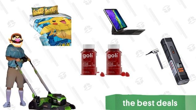 Friday s Best Deals: iPad Magic Keyboard, Greenworks Lawn Care Products, Tacklife Cordless Tire Inflator, Pikachu Bedsheets, Goli Apple Cider Vinegar Gummies, and More