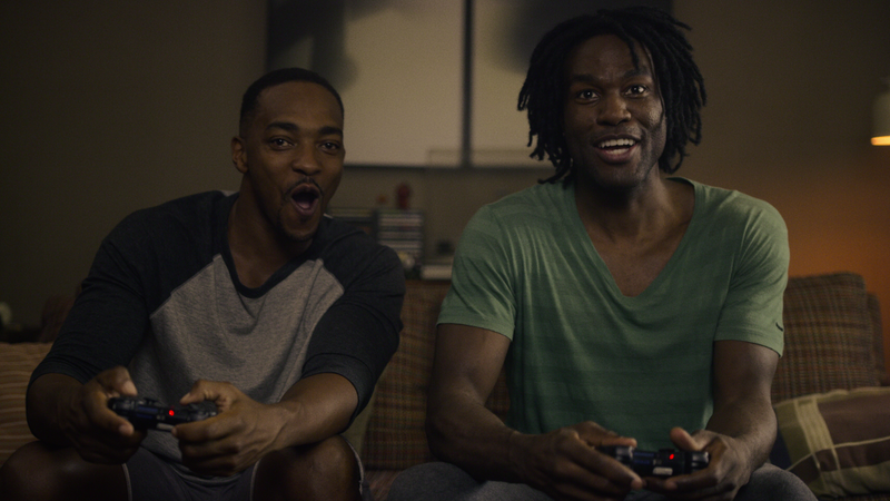 "Anthony Mackie and Yahya Abdul-Mateen II in ""Striking Vipers,"" Black Mirror"