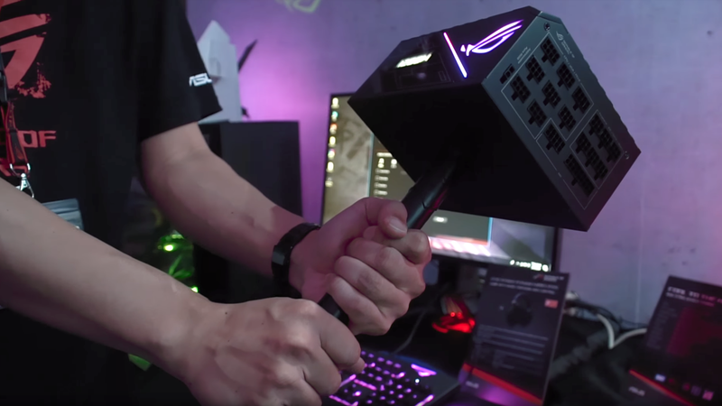 "Only those who are worthy may hold up Asus' newest ""ROG Thor"" power supply."