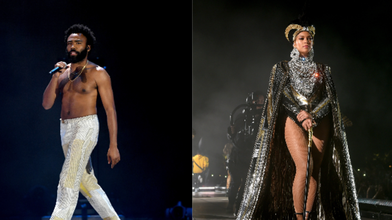 Childish Gambino performs onstage during the 2018 iHeartRadio Music Festival on September 21, 2018 in Las Vegas, Nevada.; Beyonce Knowles performs onstage during 2018 Coachella Valley Music And Arts Festival Weekend 1 on April 14, 2018 in Indio, California.