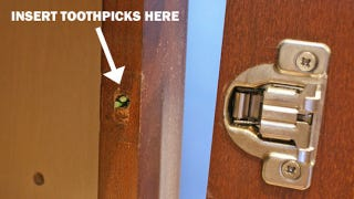 fix a stripped screw hole with toothpicks. Black Bedroom Furniture Sets. Home Design Ideas