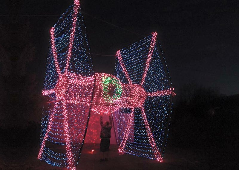 a giant christmas light tie fighter is the perfect holiday decor - Light Up Christmas Tie