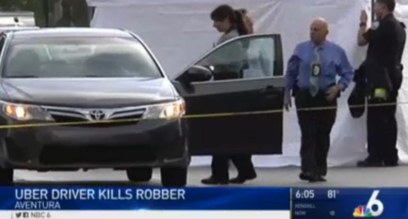The Toyota Corolla that the Uber driver was using before he shot and alleged robber in self-defense (Screenshot from NBC)